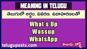 What's Up, Wassup And WhatsApp Meaning In Telugu